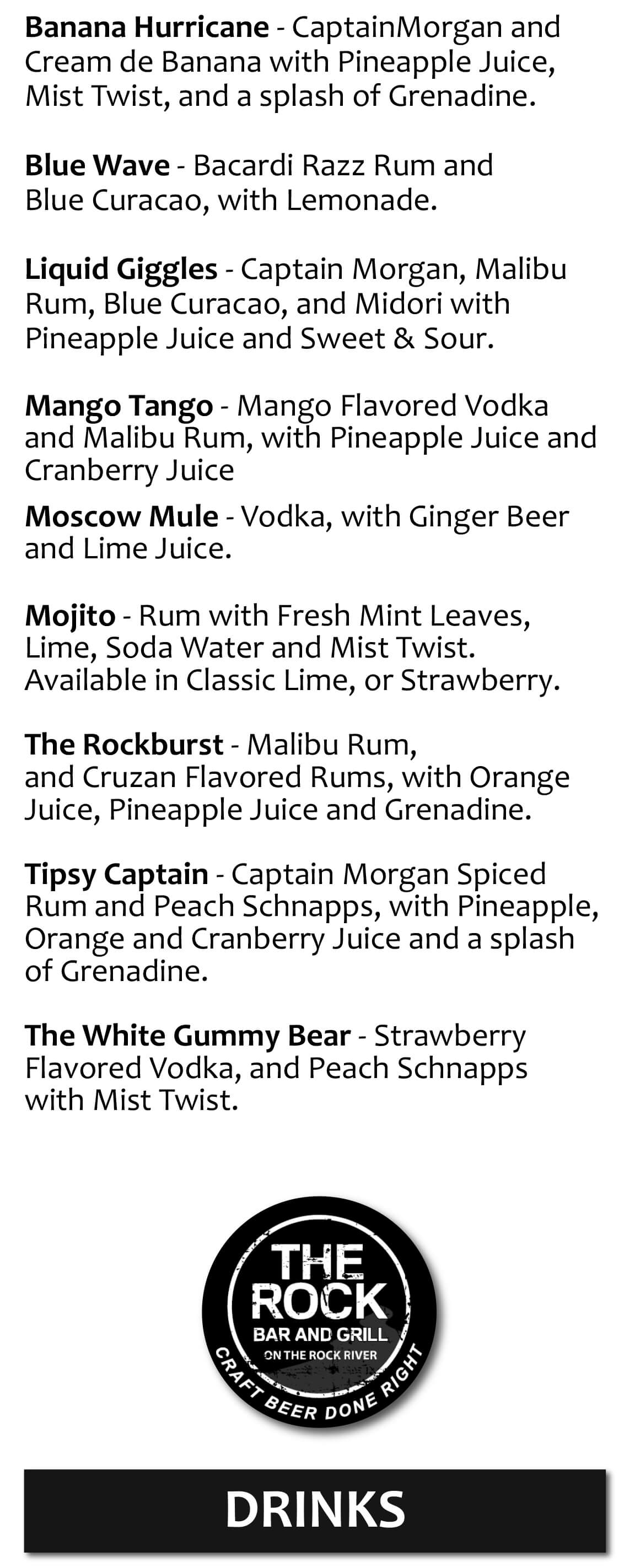 Drink Menus: Craft & Domestic / Import Beer, Wine, Martinis, Mixed ...